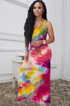 Rose Red Casual Polyester Tie Dye Sleeveless Round Neck Ruched Detail Tank Dress Q556