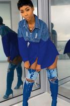 Blue Spliced Denim Front Fake Pocket Shirt Dress F8272