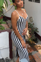 White Black Casual Cotton Striped Sleeveless Split Hem Slip Dress BBN003