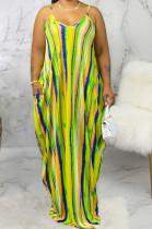 Multi Casual Polyester Sleeveless V Neck Flat Pocket Slip Dress SMR9661
