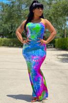 Blue Casual Tie Dye Sleeveless Round Neck Spaghetti Strap Open Back Long Dress LY5832