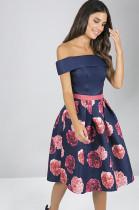 Navy Blue Off Shoulder Layers Rose Graphic Random Print Ruffles Casual DressJLX7003