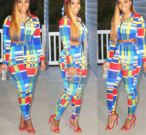 Leisure Colorful Bodycon Two-Piece Checks Outfits MA6108