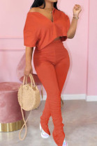 Orange Casual Cute Polyester Pure Color Short Sleeve Zipper Front Crop Top High Waist Long Pants Sets MTY6322