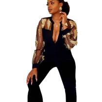 Black Elegant Mesh See Through Feather Embroidery Women Jumpsuit LA3161