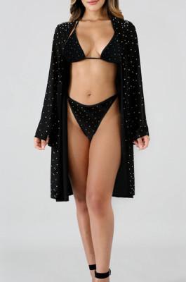 Black Sexy Polyester Sleeveless Crop Top Low Waist Shorts Sets QQM4037