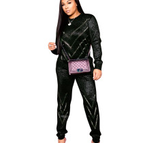 Black Hot Style Rhinestone 3 Colors Slim Casual Sets With Pocket ALS152