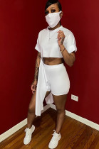 White Solid Color Roll-up Sleeve Crop Top & Shorts Sets OEP6168