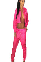 Pink slash neck midriff with self-tie and pleated bottom pants LS6235