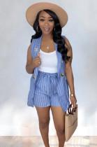Stripes Off Shoulder Skirt Top & Self knotted Short Matching Set OMY8023