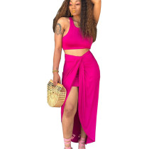 Rose Red Tank Crop Tops Long Skirts Two Pieces Sets YT3152