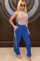 Blue Shirred Side Split Bottom Ruffled Pants F8276