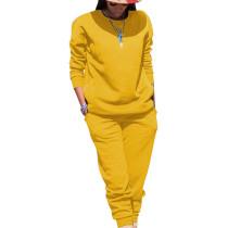 Yellow Sport Plain Color Comfy Sets Simple T Shirt Skinny Pants TRS991