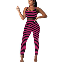Rose Red Stripped Tank Bodycon Jumpsuits ED8108