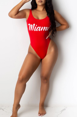 Red Sexy Polyester Letter Sleeveless Round Neck One Piece Swimsuits SDD9277