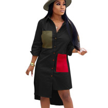 Black Female Single Breasted Long Sleeves Patchwork Casual Shirt Dress SN3728