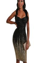 Black Collarless off shoulder stripe sequined midi dress QZ5312