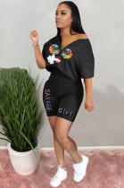 Black Casual Polyester Mouth Graphic Short Sleeve Tee Top Shorts Sets RB3063