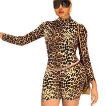 Street Style Ladies Slim Romper Leopard Printing Short Jumpsuit X9215