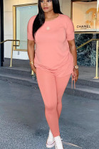 Pink Casual Polyester Short Sleeve Round Neck Tee Top Long Pants Sets HY5163