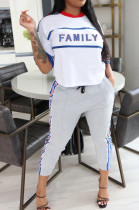 Offwhite Casual Polyester Letter Short Sleeve Round Neck Tee Top Long Pants Sets OMY8061