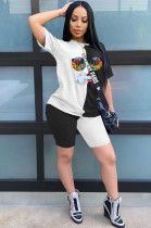 White Casual Short Sleeve Round Neck Contrast Binding Tee Top Shorts Sets BBN066