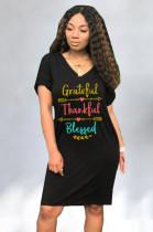 Black Solid Color Front Letter Print V neck Loose Casual Midi Dress OMY8026