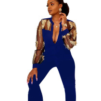 Blue Elegant Mesh See Through Feather Embroidery Women Jumpsuit LA3161