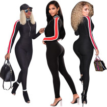Hot Sale Autumn Casual Tight Jumpsuit With Zipper F8174