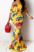 Casual Polyester Tropical Boat Neck Flounce Guipure Lace Tube Dress SMR9660