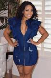 Navy Blue Pleated Shoulder Front Zipper Mini DressHHM6172