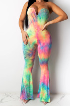 Pink Sexy Polyester Tie Dye Sleeveless Tube Jumpsuit CY1231