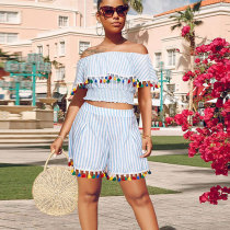 Off Shoulder Tassle Fringe Tops Striped Shorts Sets GL6125