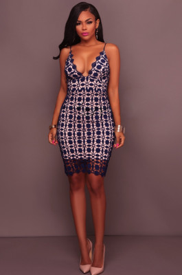 Dark Blue Embroidered Cut-out Open Back Cami Dress JLX5106