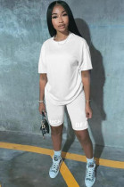 White Solid Color Casual Loose Tee Top & Bodycon Short Pants KSN5117