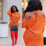 Orange Personality Warm Ladies Solid Color Back Cross Short Dress LY5802