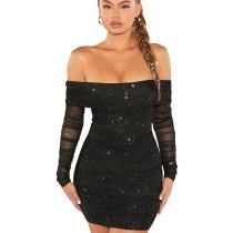 Black Party Shiny Sexy Flat Shoulder Overlay Pleated Mini Dress WMZ2522