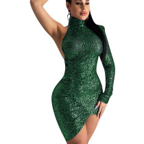 Green Sequined Halter Neck One Should Asymmetrical Bottom Mini Dress ED8165