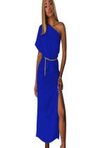 Blue asymmertcial shoudler short sleeve long dress with side slit TRS910
