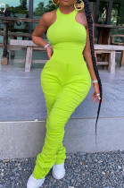 Fluorescent Green Casual Polyester Sleeveless Round Neck Ruffle Bodycon Jumpsuit R6304