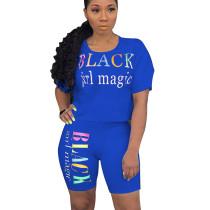 Blue Letter Print Casual T Shirts Midi Shorts Summer Sets N9136