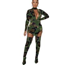 Camouflage Explosion Models Club Sets V Collar Dress Slim Leggings KA7064