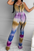 Sexy Polyester Tie Dye Sleeveless Halterneck Cold Shoulder Ruffle Cami Jumpsuit ARM8201