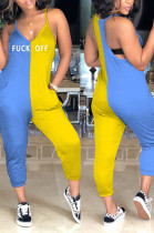 Yellow Blue Casual Letter Sleeveless V Neck Contrast Panel Cami Jumpsuit MD321