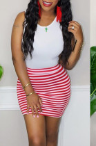 Red Casual Polyester Striped Sleeveless Round Neck Tank Dress RB3070