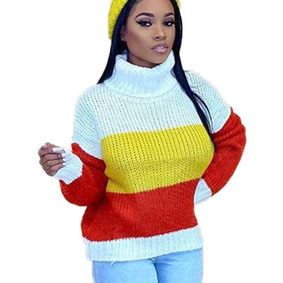 Yellow Constrast Colors Turtle Neck Sweater ARM8152