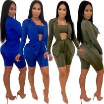 Stylish Bodycon Pure Color 3 Pieces Women Suits XZ2098