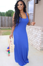 Blue Solid Color Bell-bottom Tank Dress YX9200