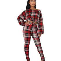 Hot Sale Polyester Plaid Long Outfits Tied Crop Top Skinny Pants ED8163
