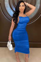 Blue Shinning Side Hollow-out Pleated Slip Dress BBN050